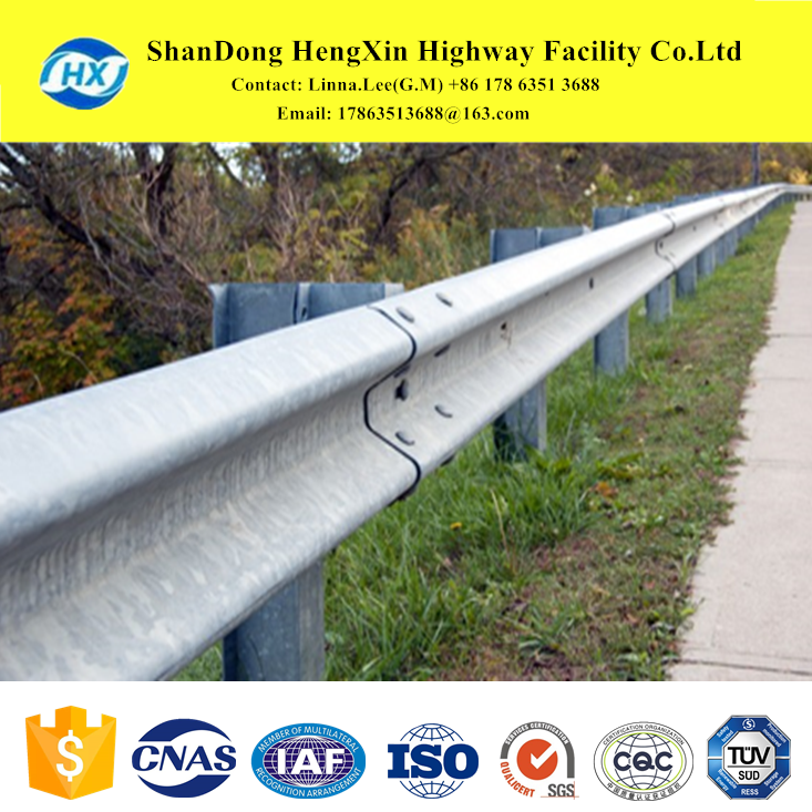 mild steel post safty barrier rail guard beams to comply with AASHTO for carriageway to protect hazards