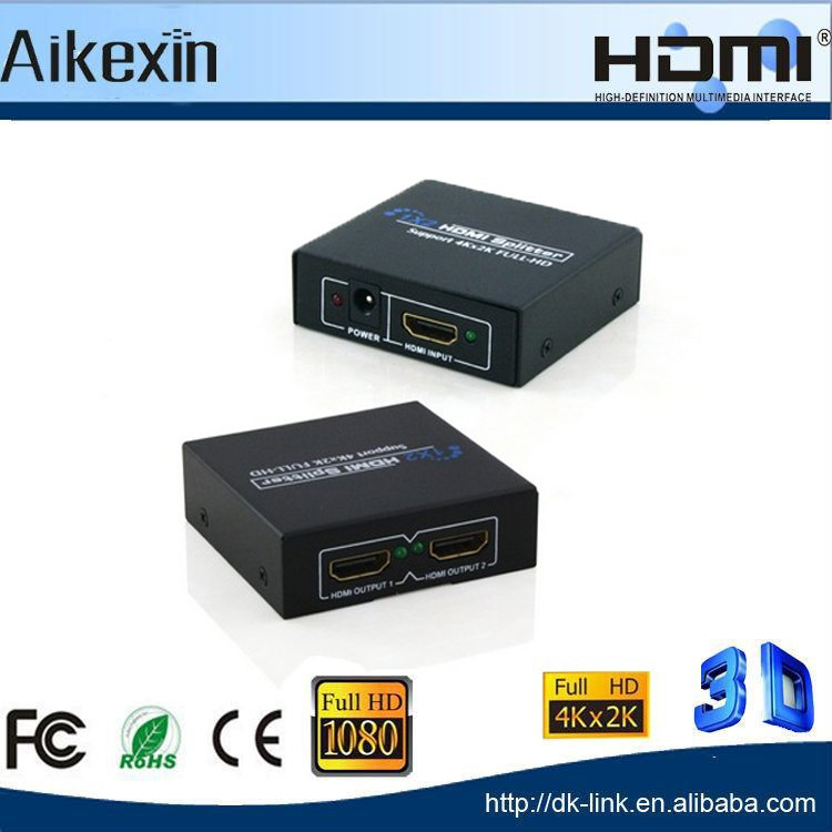 Mini 2 Port full hd 1080P 1 x 2 HDMI 1.4 Switcher Splitter for UHDTV DVD Supports 4K x 2K 3D