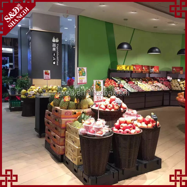 2 layers round shape fruit stand basket for supermarket display