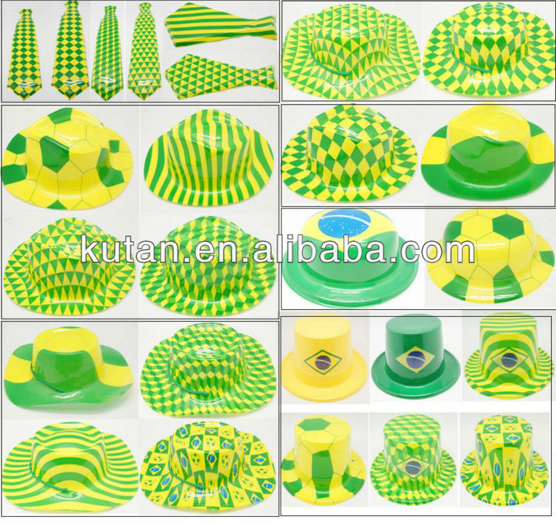 world cup brazil 2014 supplier /2014 Brazil World Cup Fans PVC cap and tie for Festival