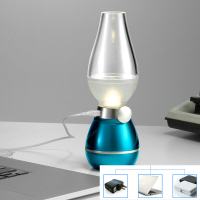 USB Rechargeable LED Lamp Blowing Control Kerosene Candle Nightlight Desk Table Lamp