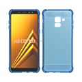 alpha design brushed metal alpha design air cushion shock proof tpu soft case for Samsung A8 2018 mibole phone back cover