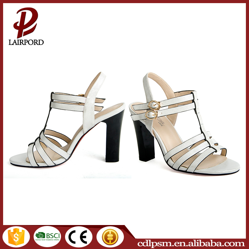 Black high heel new design model European style women sandals 2016 summer
