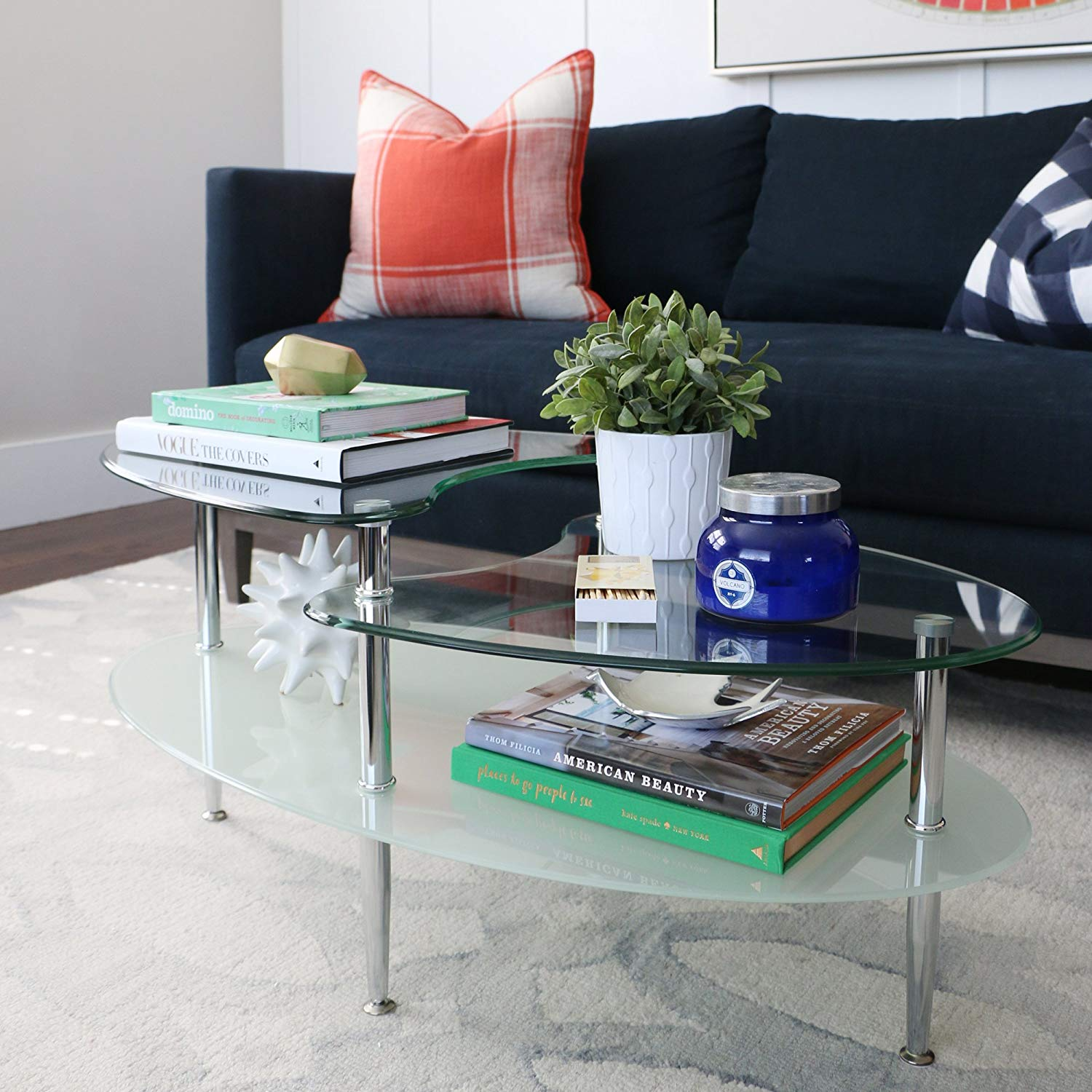Round clear glass table tops for Modern transparent furniture