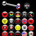 stainless steel barbell 14ga logo tongue barbell piercing jewelry