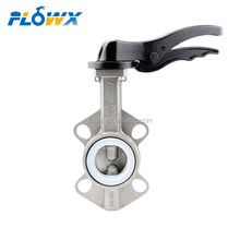 Manual Handle Lever Operated DN50 PN16 10inch 8inch Price PTFE Seat Wafer Type Stainless Steel Butterfly Valve