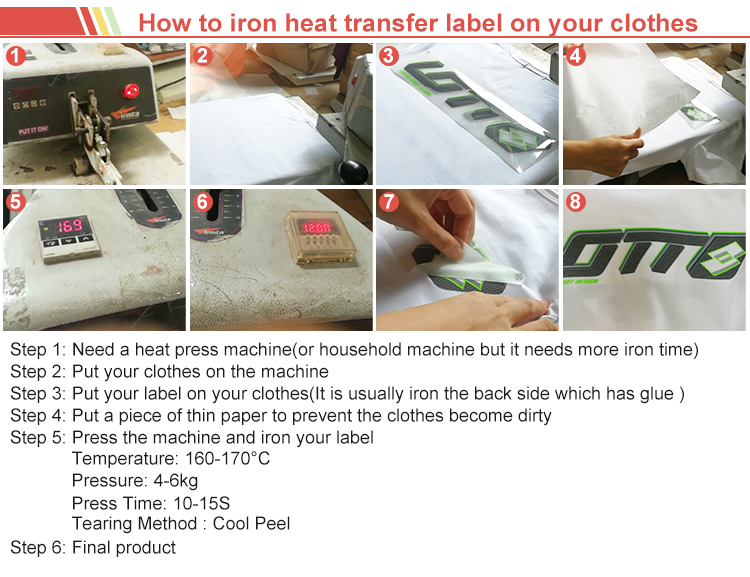 Custom High Quality T-Shirt Care Label Heat Press T-Shirt Heat Transfer Care Labels