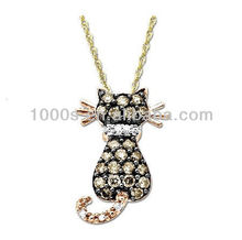 18k rose gold plated lucky cat pendant