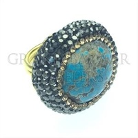 Turquoise 925 Sterling Silver Rings Handmade Druzy Wholesale Druzy Jewellery