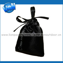 Customized Black Soft Satin Pouch For Hair Extension Shenzhen Factory