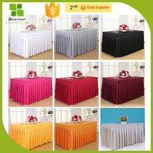 New design different kinds of table skirting design OEM