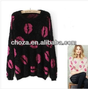 C60608A 2013 NEWEST FASHION STYLE WOMEN'S MOHAIR PULLOVER SWEATER