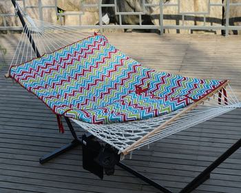 Wave Rope Hammocks with net with stand quilted mat and pillow Outdoor Hard wood bar