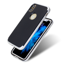 New coming back carbon fiber pc tpu shockproof texture phone case for iphone X 8
