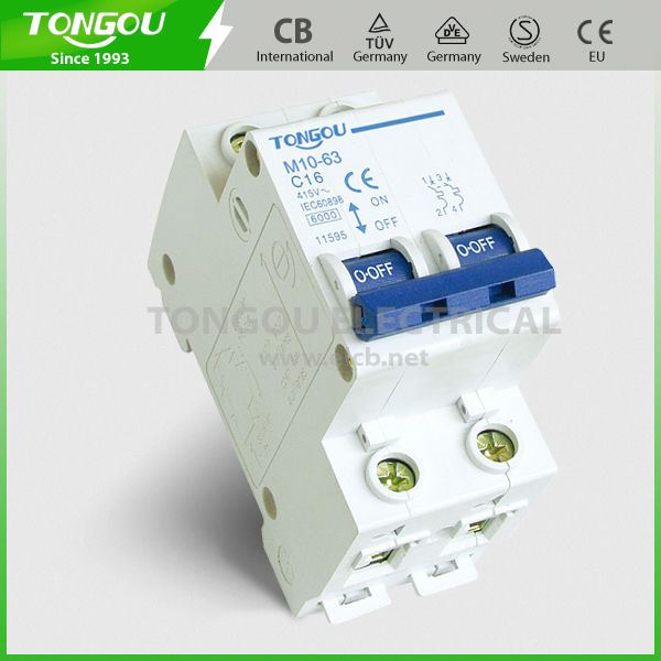 with overload protection and short circuit protection, 2P 4.5KA Electrical Mini Circuit Breaker Switch of TOM10-63 C45n
