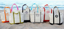 Monogrammed Canvas Tote Bag, Canvas Tote Beach Bag, Large Personalized Canvas Boat Tote Beach Bag
