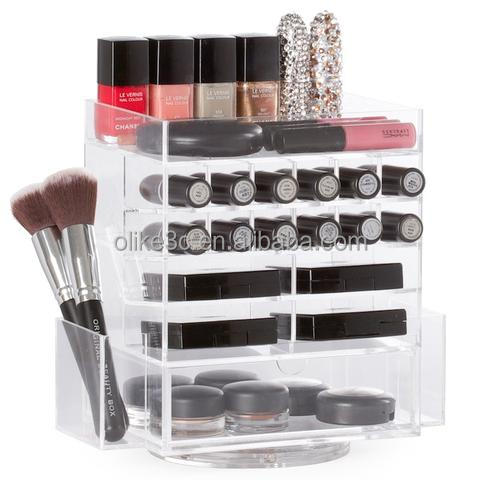 New product fashion design acrylic clear organizer mac lipstick makeup/mac makeup brushes/acrylic cosmetic organizer