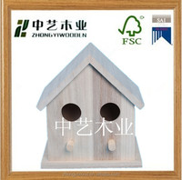 2014 pet products cheap small outdoor 100% new unfinished wooden bird house wholesale