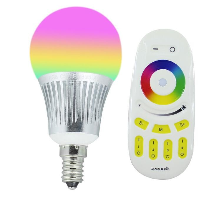 Milight E14 5W RGBCW RGBWW LED bulb with 2.4G 4-Zone wireless RF remote controller multicolor led lighting