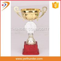 3d soccer trophy cup with man,sport metal trophy,trophy medal metal with wooden gift box