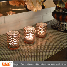 electroplate golden glass candle holder