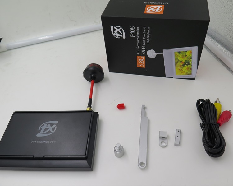 FXT 4.3 Inch full-color FPV Video receiver Monitor with Sunshade and Mount for fpv racing