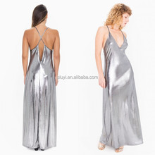 N233 Trendy maxi silver dress prom shinning design Wholesales UK best selling product Metallic silver Strappy Maxi Dress