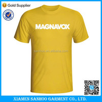 100% Cotton Screen Custom Printed Cheap Plain Yellow T-Shirt