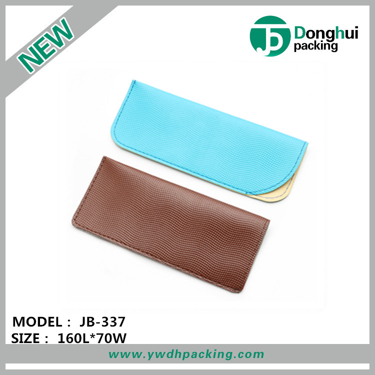 Free sample spectacle packaging bag PU glasses pouch with open side wholesale optical sample bags