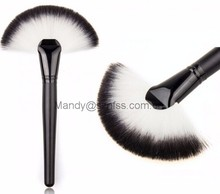 Facial fan brush, Makeup Large Fan Brush Soft Goat Hair Blush Face Powder Foundation Make Up Tool