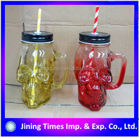 Food grade drinking 16oz 500ml skull shaped handling glass mason jar with color printed, scew metal lid, plasctic straw