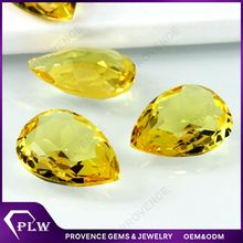 Wholesale Price Cheap Pear Shape Yellow Synthetic Glass Stone
