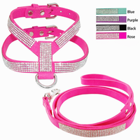 Soft Suede Leather Full Rhinestone Bling Pet Dog Harness Leash Leads Set