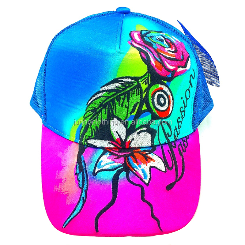 Beautiful roses lily floral embroidery girls caps and hats printed front panel brim trucker blue mesh cap