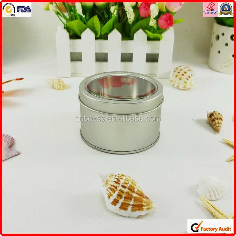 see through window storage metal round packing perfume tin can