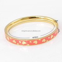 Fancy Bangle Enamel Cloisonne Bracelets Latest Design Girl's Gold Bangles with 9 colors