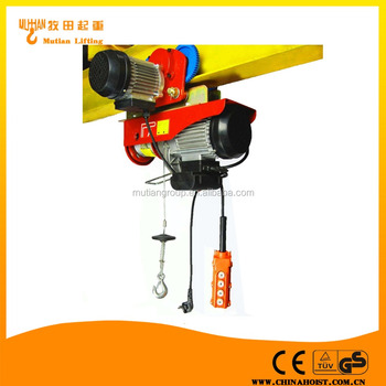 PA800 400kg Mini Electric Wire Rope pulling hoist winch With Trolley ...