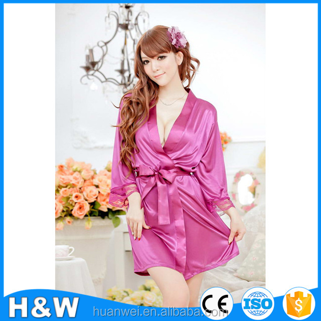 OEM Pajamas satin silk bathrobes mature women Sexy lingerie
