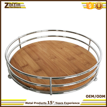 Restaurant decorative bamboo bottom silver color metal serving tray with handles