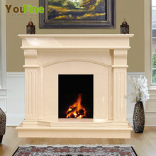 Free Standing Beige Fake Mable Fireplace