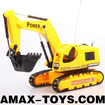 re-1015035E Toys engineering truck 5CH Yellow emulational remote control crawler excavator with flashing lights