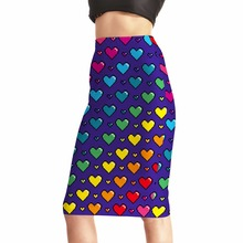Moshiner Midi Knee Length Dress High Waist 3D Printing Colorful Heart Pictures of Long Skirts