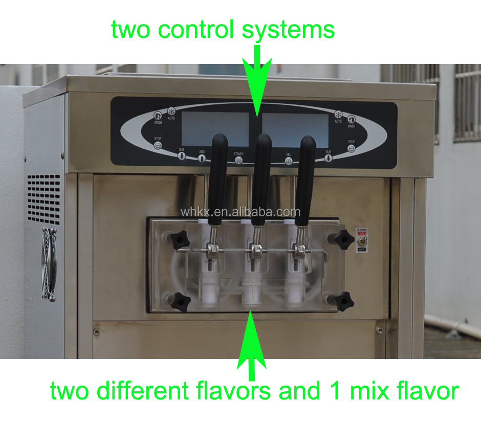 frozen yogurt machine with two digital control systems