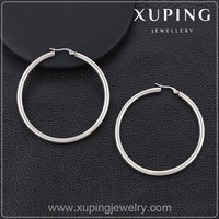 91008- 2016 Xuping Jewelry Fashion Silver Color Big Round hoop Earrings