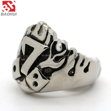 Jewelry Men's Stainless Steel Flame Numbers Lucky 7 Biker Style Ring BHR0037