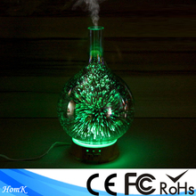 3D Glass Multi Color Changing LED Light 100ml Electric Aromatherapy Essential Oil Diffuser