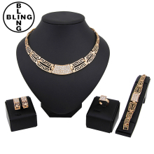 >>>Manufacturers of goods sold quickly sell through the high - grade alloy gold - plated four - piece bridal banquet jewelry/