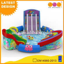 movable pvc tarpaulin material commercial used giant inflatable aqua water park with pool