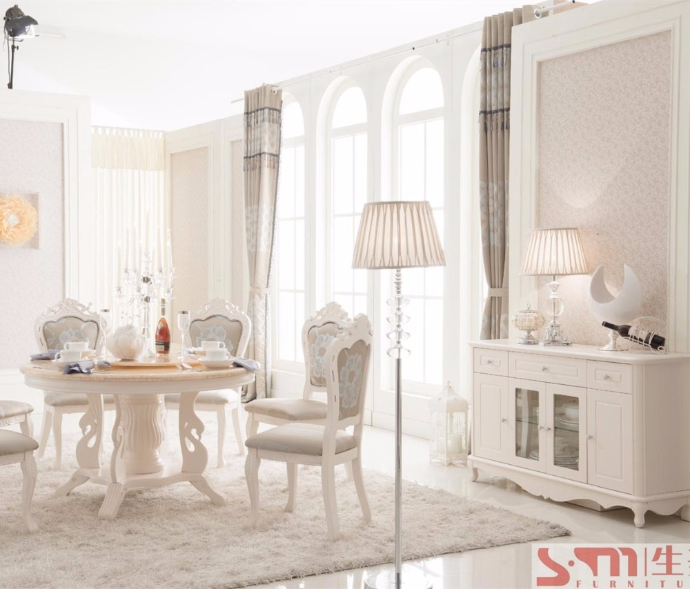 romance white furniture marble round dinning table and chairs european style living room furniture