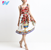 summer women latest design dress fashion Floral Printed Cute Rose Vase sleeveless elegant casual dress